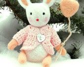 Toys for Blythe - Needle felted animal ,Soft sculpture white bunny art toy , Handmade toy - Plush bunny rabbit eco friendly toy