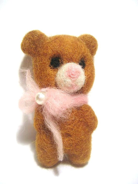 Miniature needle felted brown bear - made to order