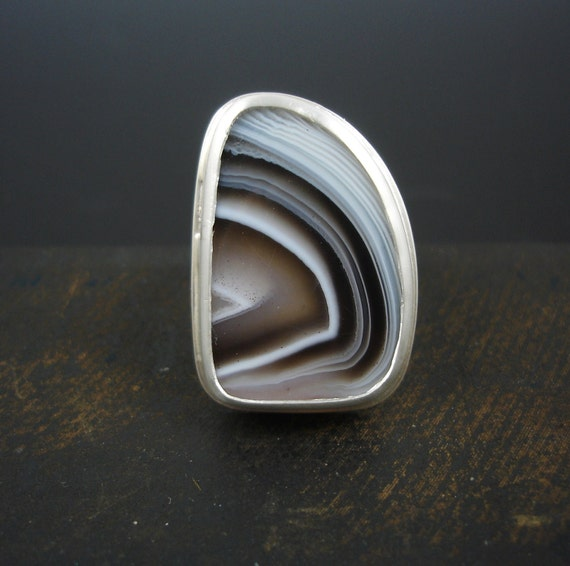 Botswana agate brown and black banded sterling silver ring