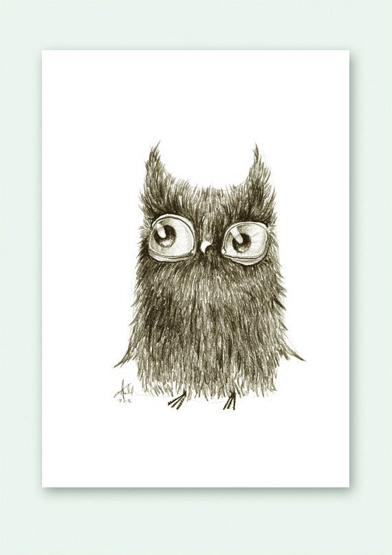 Owl Curious Owlet Print A5 Sepia from original illustration