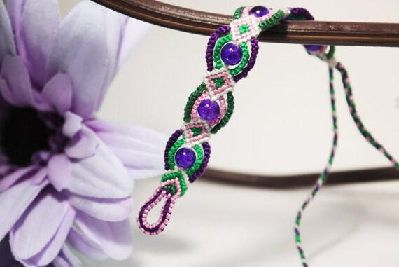 Ankara Friendship Bracelet - Beaded Green & Purple Micro Macrame Braclet for Christmas Stocking Stuffer