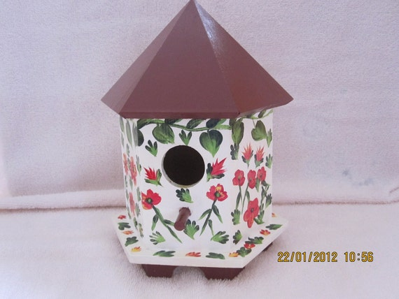 Hand painted Birdhouse with red flowers and green vine