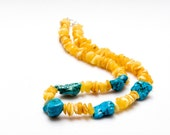 Amber and turquoise necklace - sunny yellow and blue