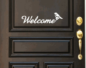Welcome with bird, front door decal.