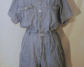 CLEARANCE 1990s Hipster Grunge Pin Striped Button Down Denim Romper w/ Large Pockets Size L