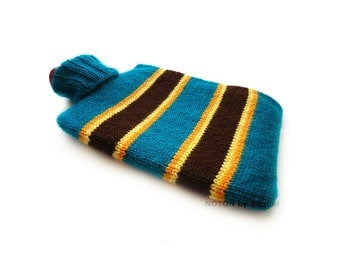 Blue Knitted Hot-water Bottle Cover with Brown Stripes