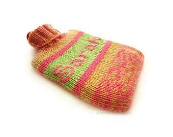 Knit Hot-water Bottle Cover for Sarah in Pink Green and Beige