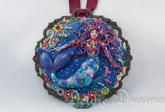 Mermaid Siren Pendant - Original Wearable Art Jewelry - Hand Sculpted Cameo Pendant - Unique Mermaid Art Pendant - Hippie Boho Art Jewelry