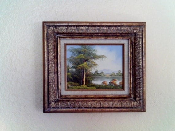 Vintage Oil Painting Lake Trees Nature Scene on Canvas Signed by Artist Original Wood Frame Cottage Chic Cowboy Chic Retro Frame Vintage Oil
