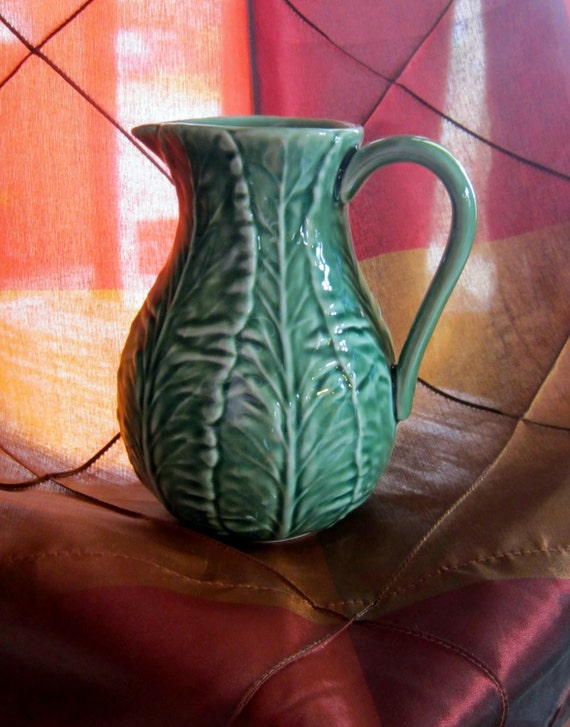 Cabbage Pitcher Bordallo Pinheiro Green Cabbage Leaf Water Pitcher - Portugal