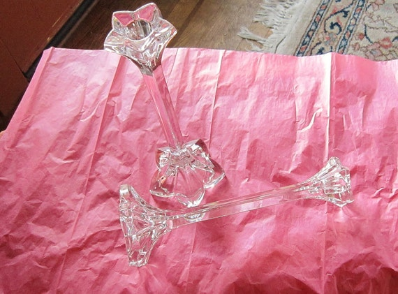 Crystal Candle Holders Cut Glass 9 inch tall Dual Use