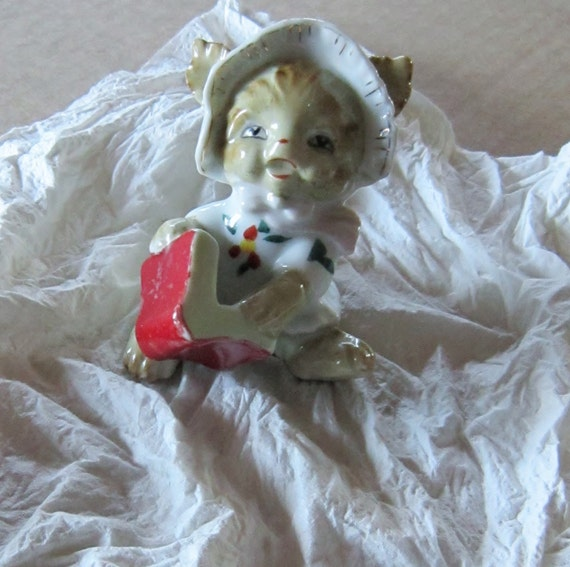 Vintage Cat Figurine with a Book and a Hat Gold Gilt Trim
