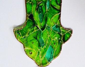 Wall Bright Green Colored Glass Hamsa