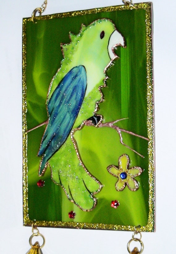 Wall Decor Green Parrot Glass Art
