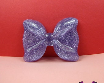 2 Pcs Purple Glitter Decoden Bows Kawaii Flatback Resin Cabochons 53x41mm
