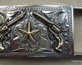IN STOCK Handmade Dress Buckle Hand Engraved with Texas Star and Guns