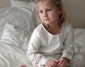 20 % sale - organic cotton sateen  pajama set , trimmed with nice linen lace