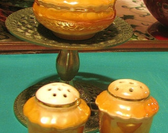 Lusterware Salt, Pepper, Mustard Jar Set