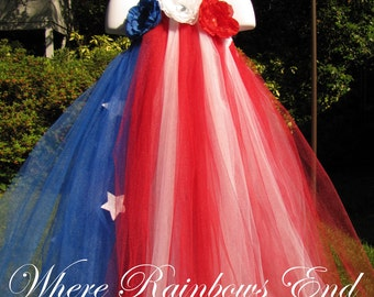 Stars & Stripes - Fourth of July - Pageant Tutu Dress sizes 6-9m, 9-12m, 18-24m, 3t, 4t, 5t, girls 6