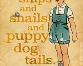 "Boy Paper Doll Snail Puppy Dog Tails for Child's Room Large 16"" x 20"" Canvas-Wrapped Frame: Snail Boy"