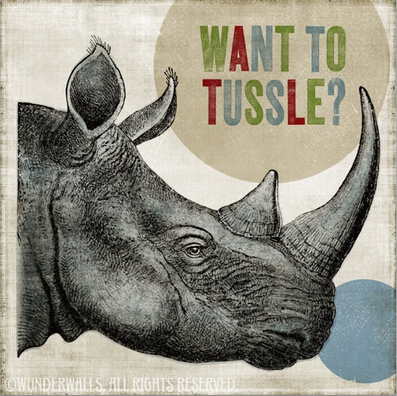 """Rhinoceros Want To Tussle High-Quality, Archival 8"""" x 8"""" Print"""