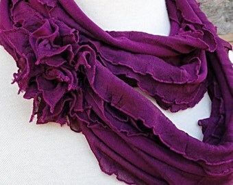 Red Violet Infinity Scarf - Magenta Berry Ruffled Circle Scarf