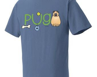 Pug Doodle Garment Dyed Cotton T-shirt