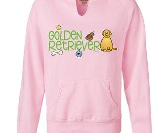 Golden Retriever Doodle Ladies Garment Dyed Hoodie Sweatshirt