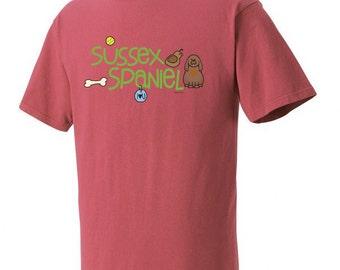 Sussex Spaniel Doodle Garment Dyed Cotton T-shirt