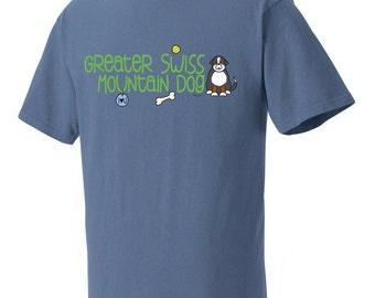 Greater Swiss Mountain Dog Doodle Garment Dyed Cotton T-shirt