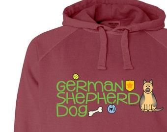 German Shepherd Doodle Garment Dyed Hoodie Sweatshirt
