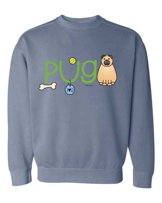 Pug Doodle Garment Dyed Crew-neck Sweatshirt