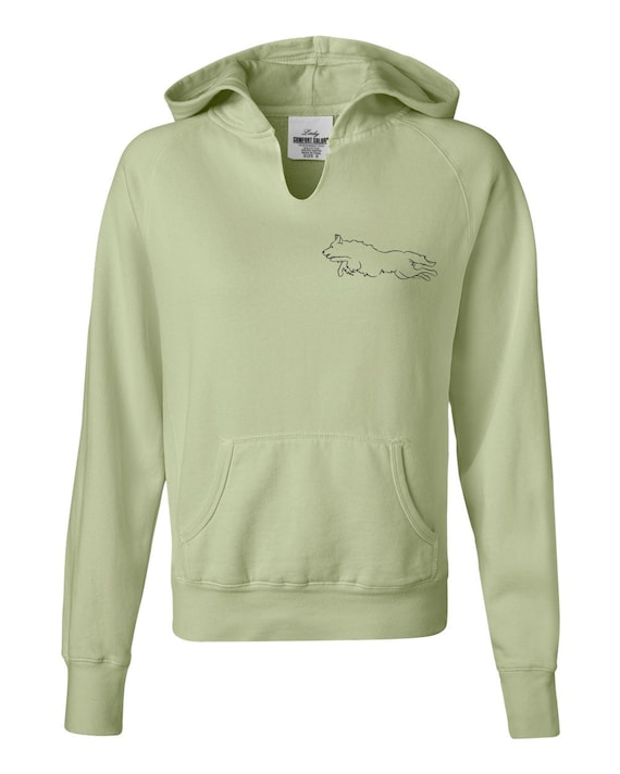 Border Collie Jumping Ladies Garment Dyed Hoodie Sweatshirt