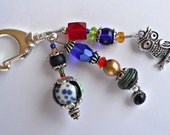 Colorful Beaded Clip with Owl Charm