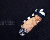 Newborn Boy Hat, Elf hat, Newborn Photo Prop, Baby Boy Beanie, navy blue and white elf hat