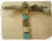 Copper and Wood Veneer Bracelet - Copper Wood Jewelry