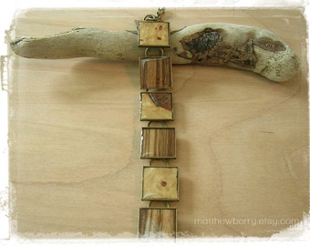 Zebrawood and Walnut Burl Wood Veneer Bracelet - Exotic Wood Jewelry