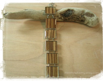 Real Zebrawood Veneer Bracelet - Exotic Wood and Resin Jewelry