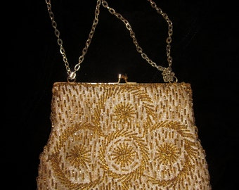 Vintage Gold Beaded Clutch Purse, Hand Made