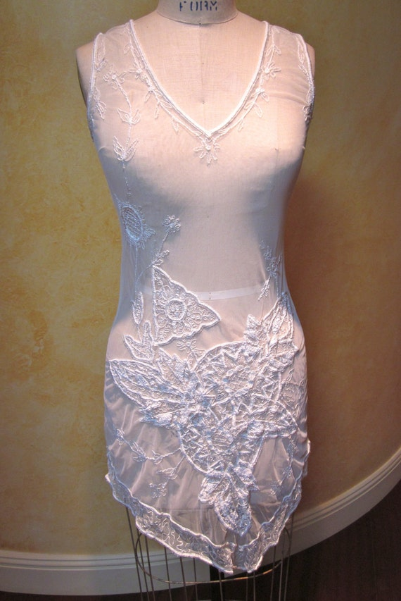 Sheer Lace Embroidered Dress/Top/Beach Cover (Size S/M)