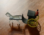 Vintage Metal Cast Iron Toy Horse Drawn Carriage Collectible Toy Miniature