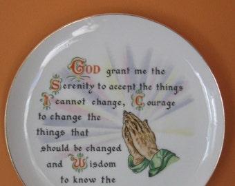 Vintage Serenity Prayer Plate Wall Hanging