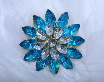 Turquoise Flower Brooch-BR029