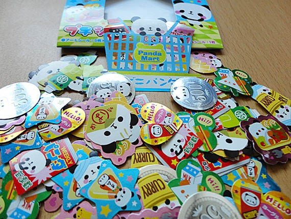 Panda kawaii food, Japanese sticker flakes.