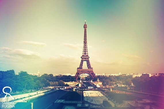 My shabby chic Paris, vintage style photo, Eiffel tower in Paris, decoration art photo print