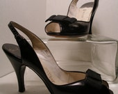 RESERVED for LUCILLE 1960s Black Leather Sling Back Stiletto Heels with Bow