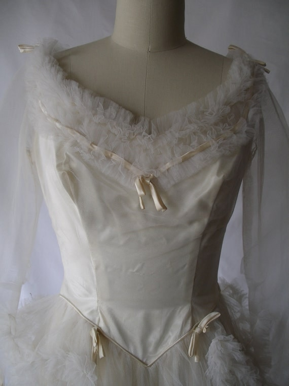 SALE 1940s Wedding Dress of Satin and Tulle a Vision in Ruffles and Satin Bows