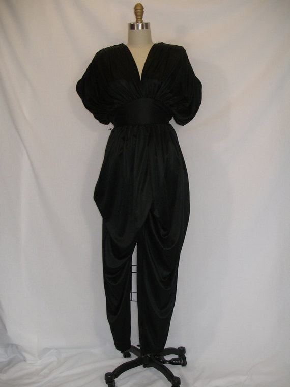 1980s Gathered Big Shoulder Jumpsuit