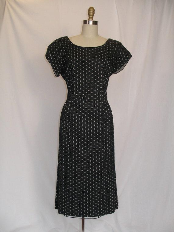 1950s Black Gingham Polka Dot Dress