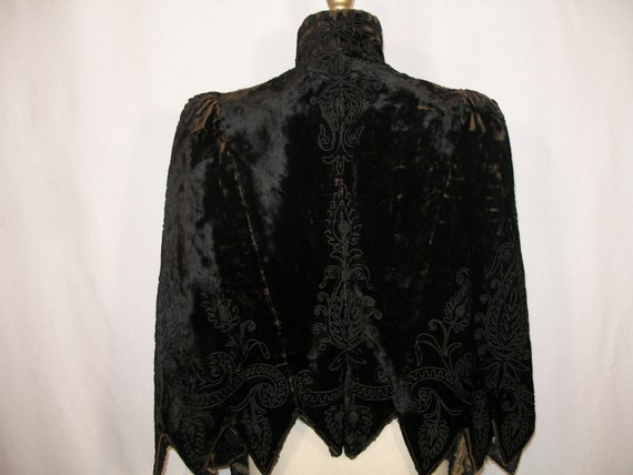 Victorian Black Velvet Embroidered Cape with Sleeves